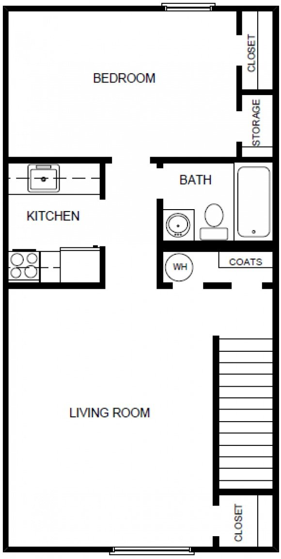 1 Bedroom 1 Bath-2nd Floor