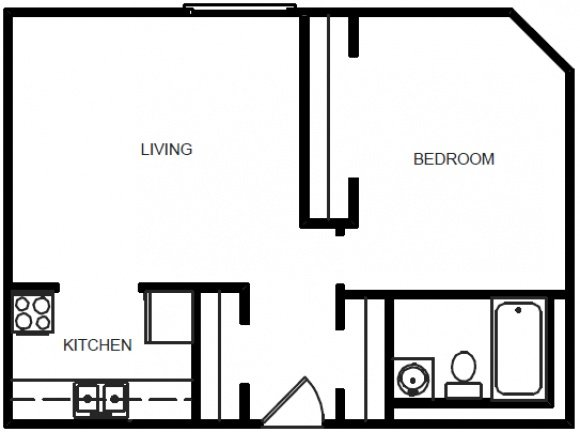 1 Bedroom 1 Bath - Floor Plan B