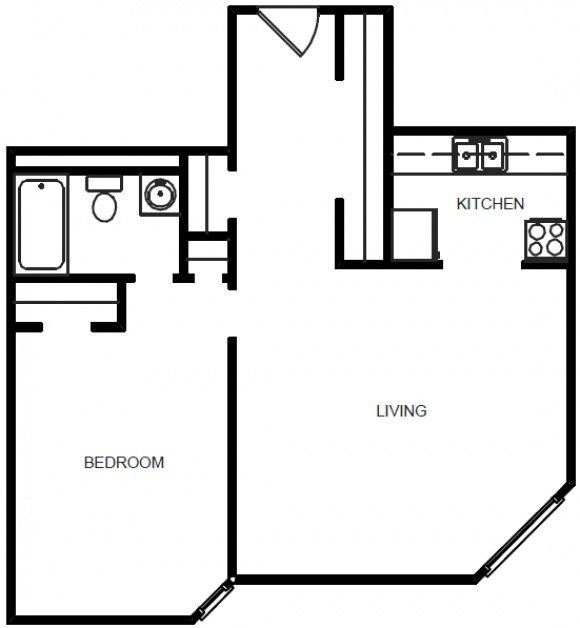 1 Bedroom 1 Bath - Floor Plan C