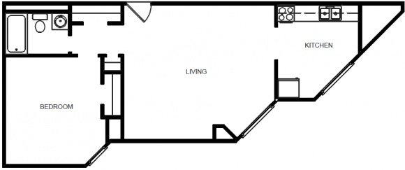 1 Bedroom 1 Bath - Floor Plan D