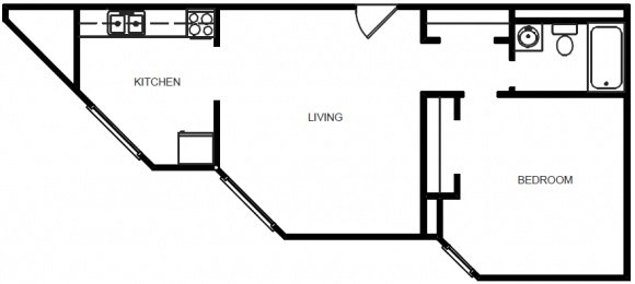 1 Bedroom 1 Bath - Floor Plan E