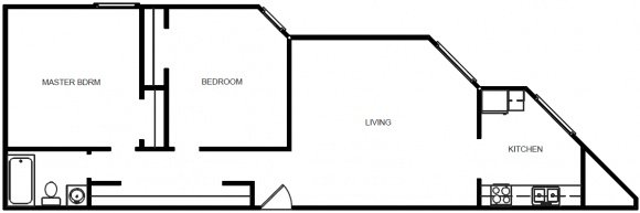 1 Bedroom 1 Bath - Floor Plan F