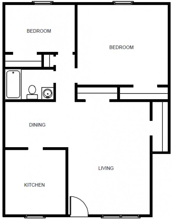 2 Bedroom 1 Bath Garden