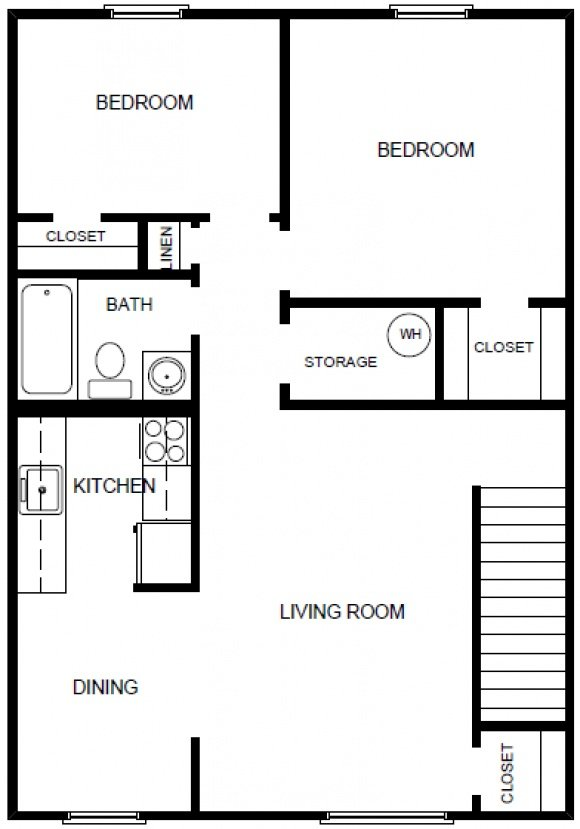 2 Bedrooms 1 Bath-2nd Floor