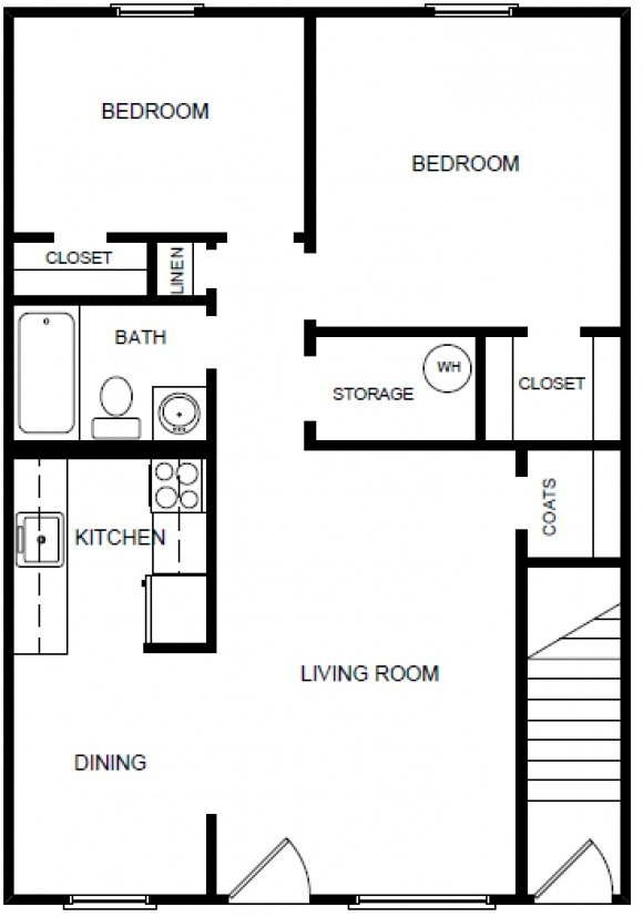 Two Bedroom, One Bath - Downstairs