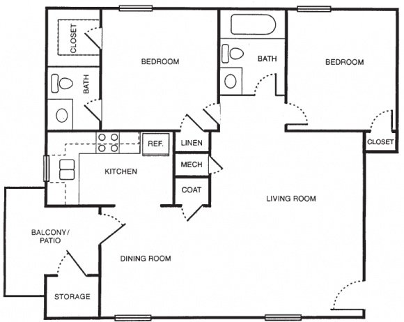 2 Bedroom, 1.5 Bath