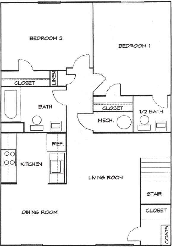 2 Bedrooms 1.5 Bath