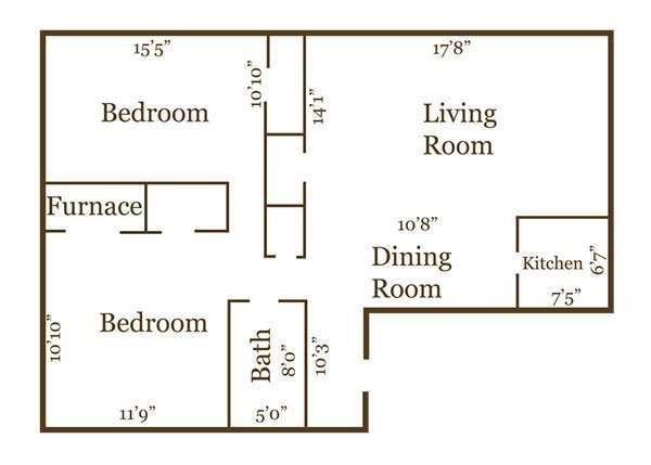 2 Bed, 1 Bath