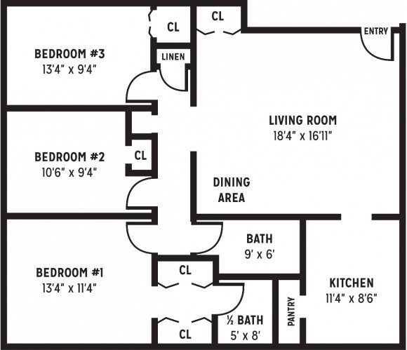 Three Bedroom, One and a Half Bathroom