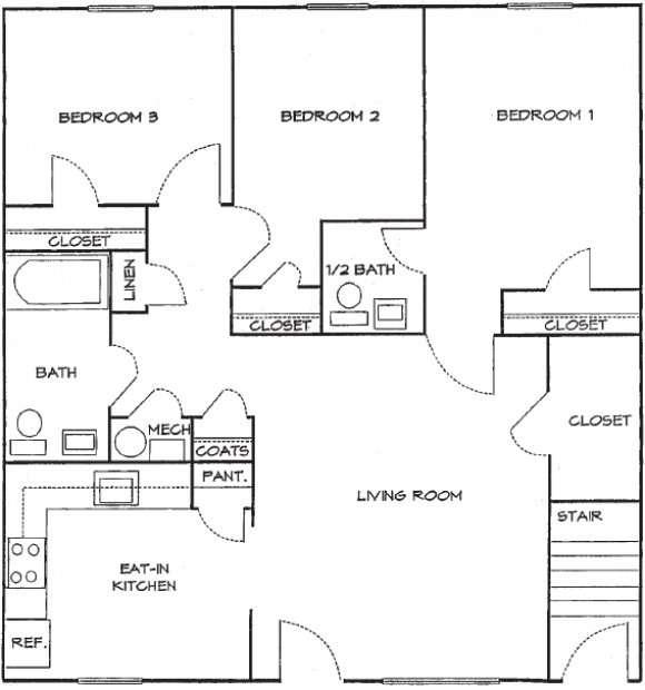3 Bedrooms 1.5 Bath