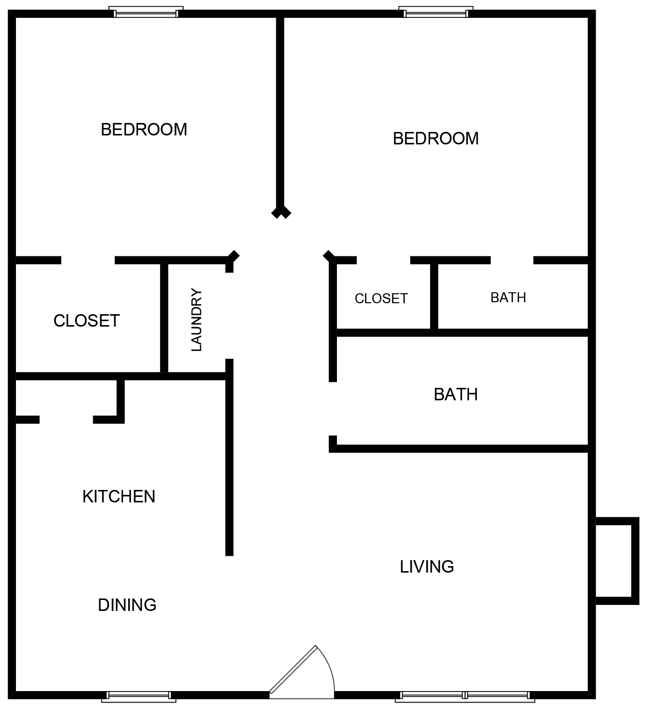 2 Bedroom 2 Baths - Duplex