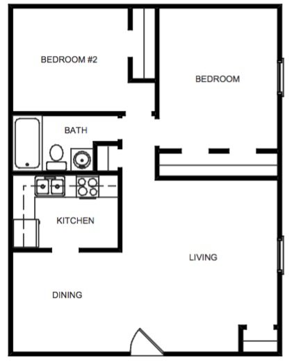 2 Bedroom, 1 Bath Garden