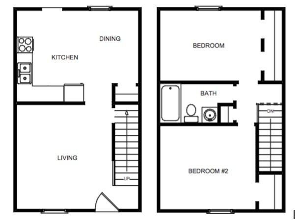 2 Bedroom, 1 Bath Townhome