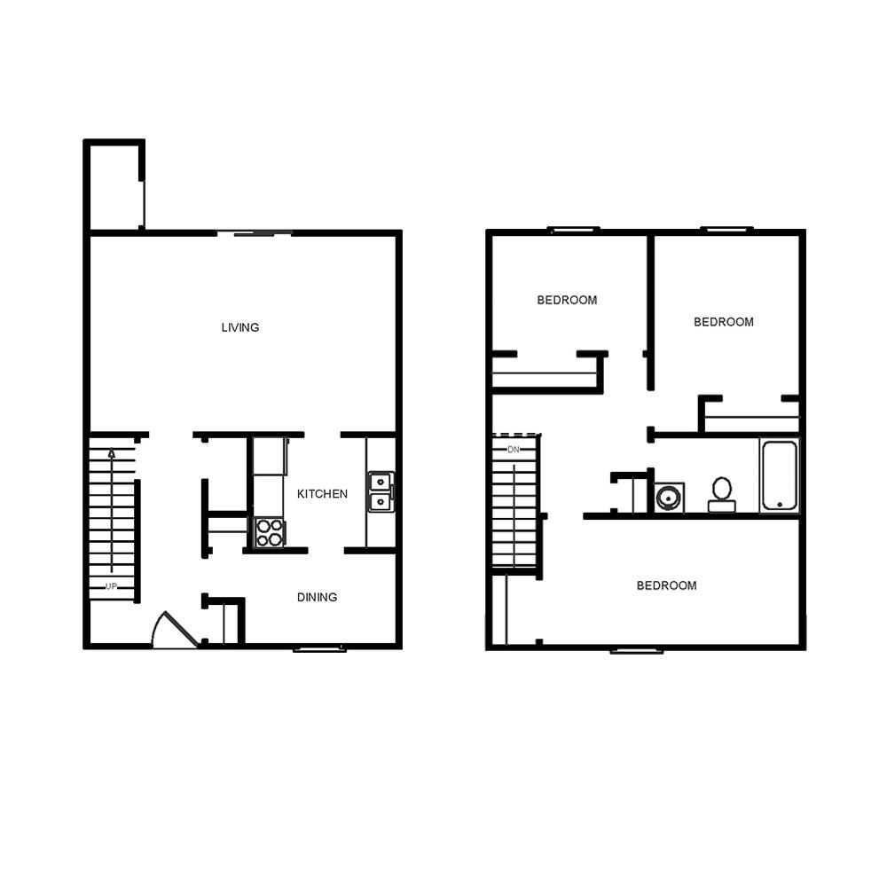 3 Bedroom, 1 Bath Townhome