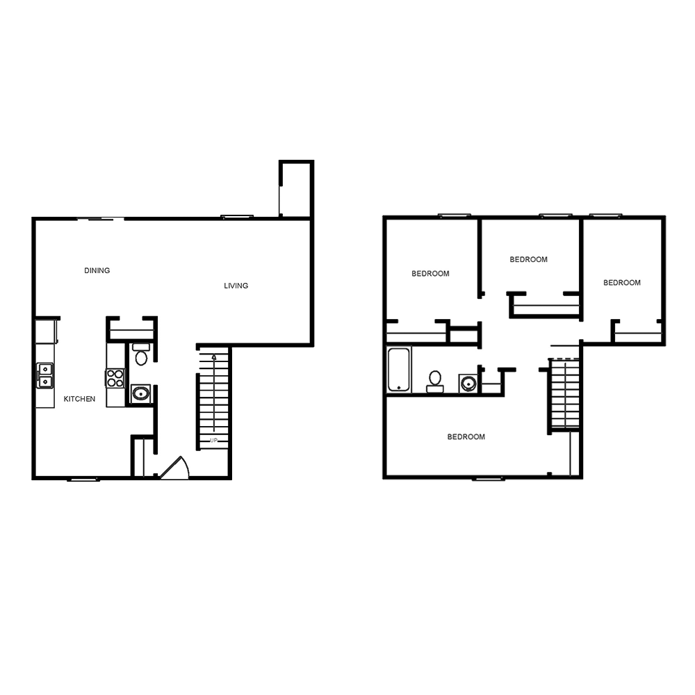 4 Bedroom, 1.5 Bath Townhome