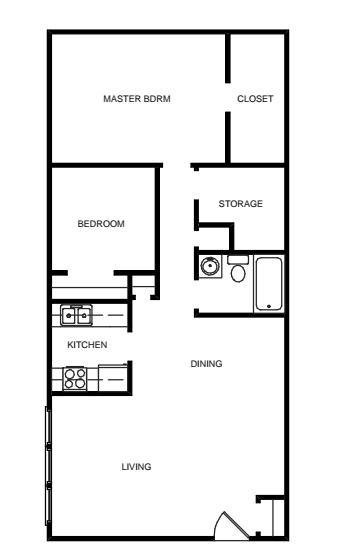 2 Bedroom, 1 Bath