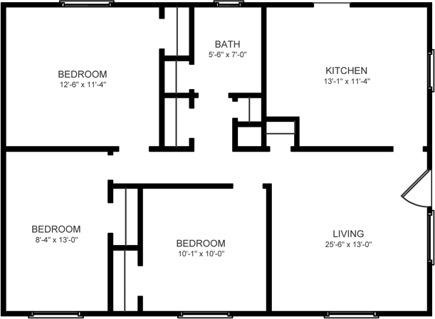 3 Bedroom, 1 Bath Duplex