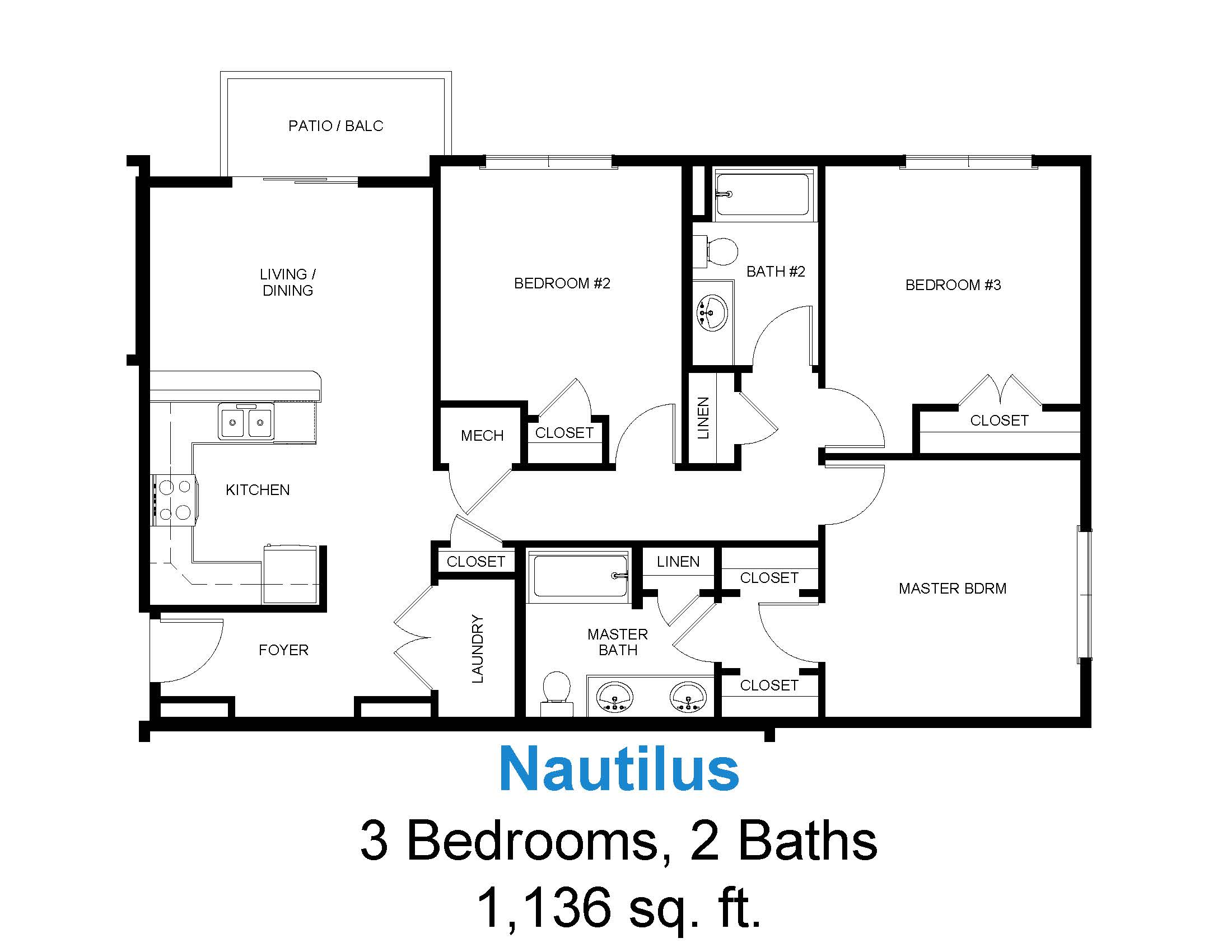 3 Bedrooms 2 Baths