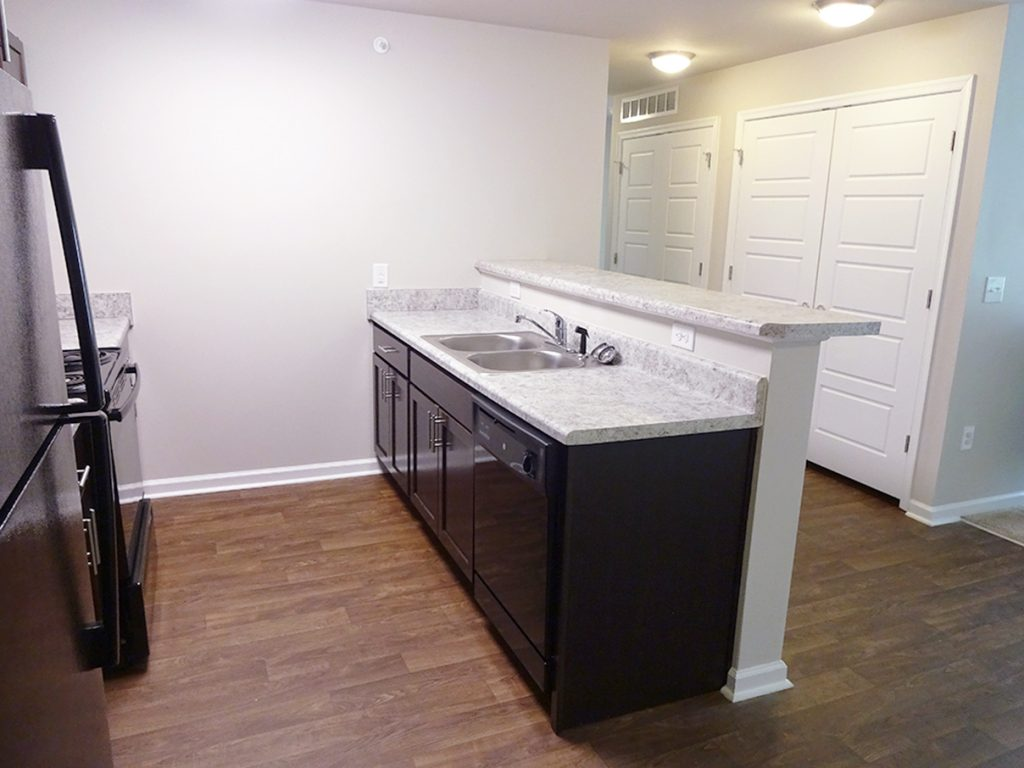 Brand-new kitchen in October Station apartment building