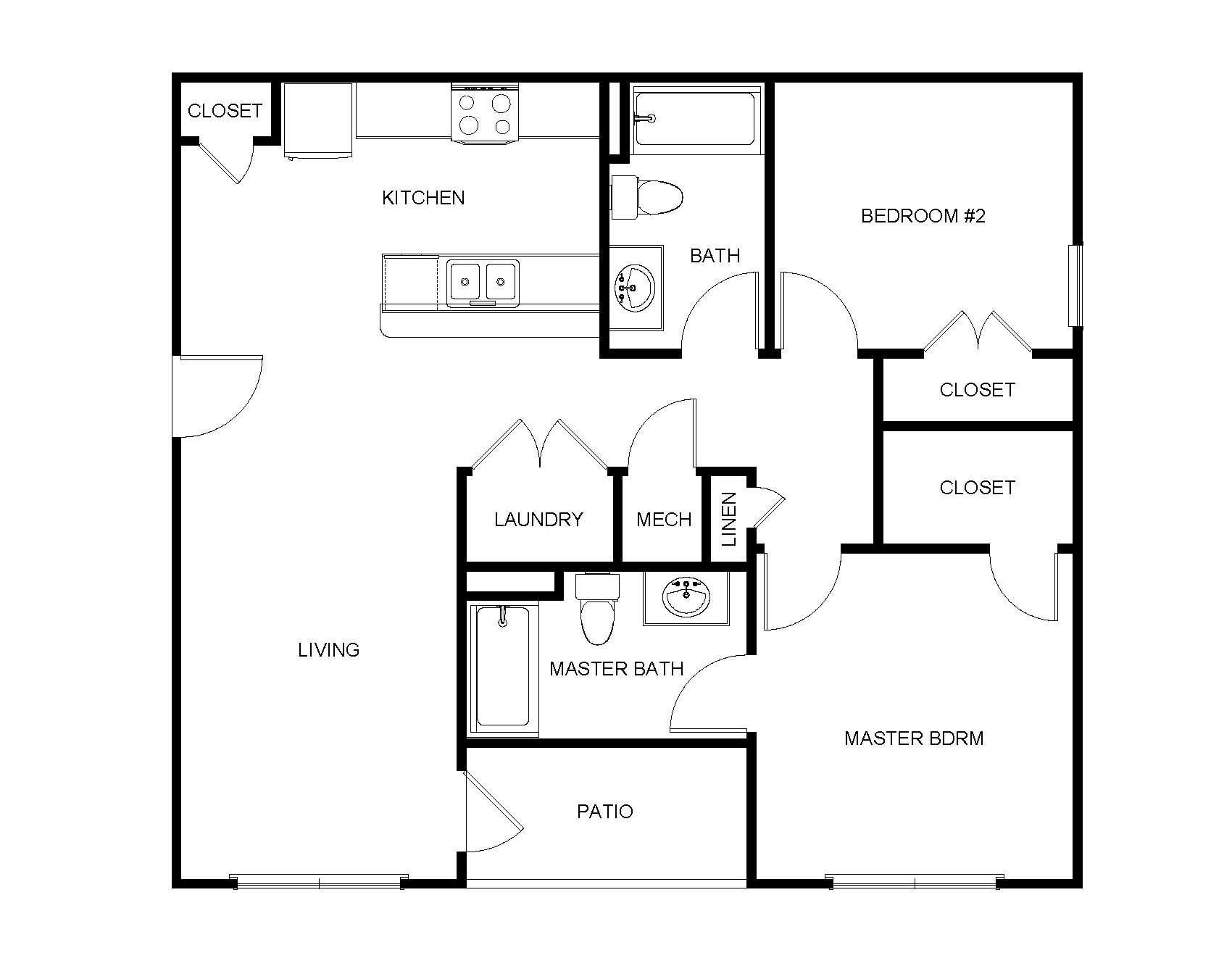 2 Bedroom, 2 Bathroom - B