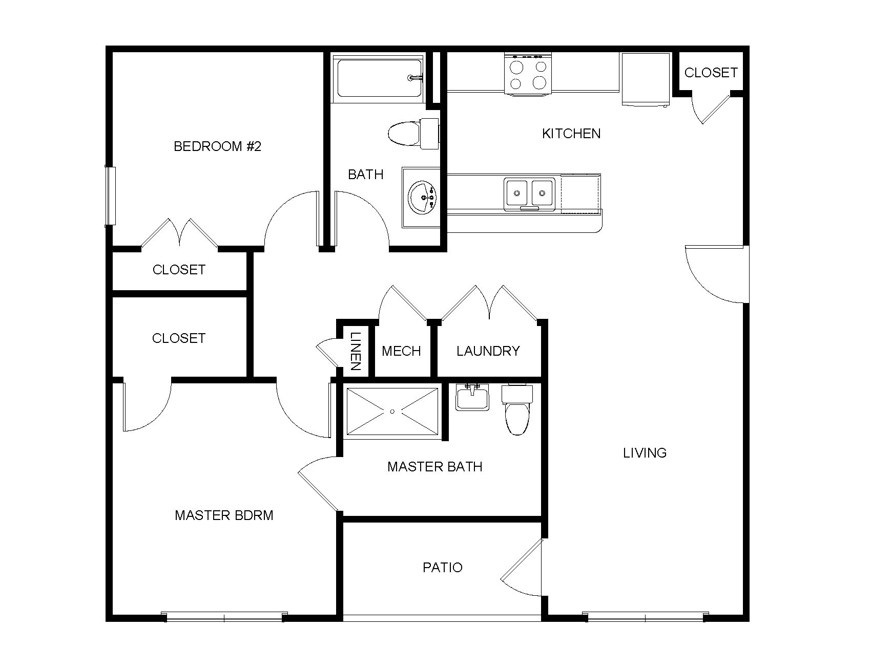 2 Bedroom, 2 Bathroom - A