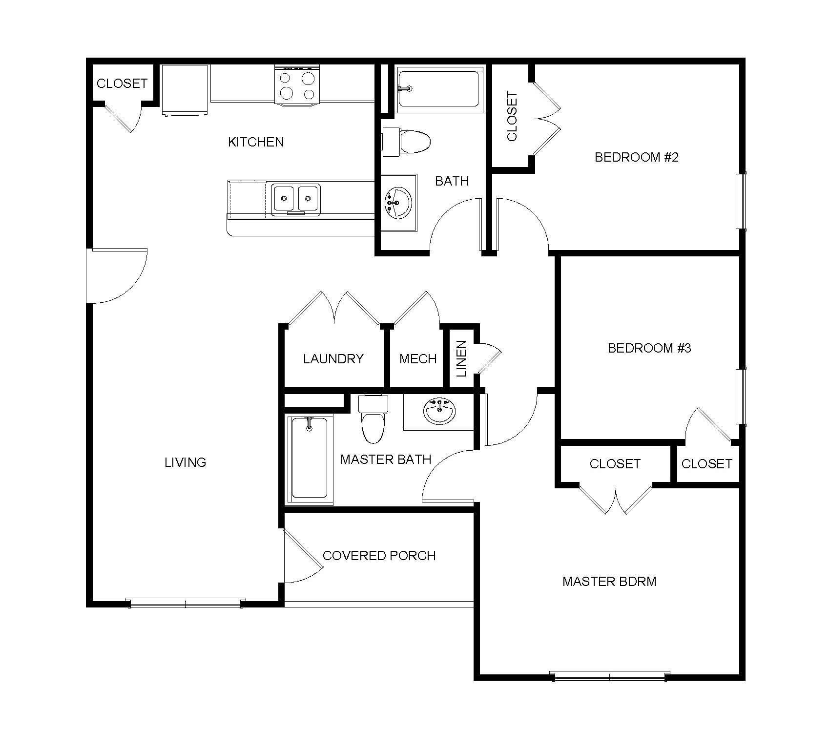 3 Bedroom, 2 Bathroom - B